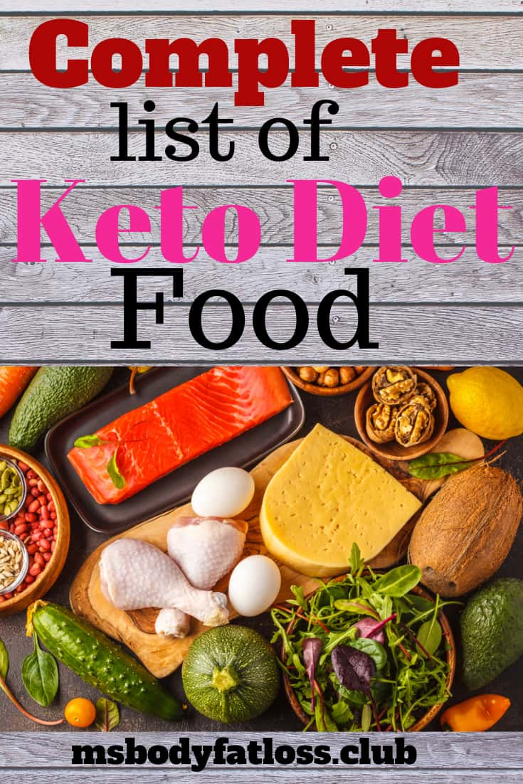Complete list of keto diet food